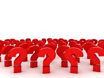 Rode Vraagtekens met lege ruimte hierboven over wit Stock Afbeelding