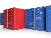 Rode vrachtcontainer Stock Afbeeldingen