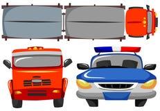 Rode vrachtwagen en patrouillewagen Royalty-vrije Stock Foto