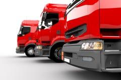 Rode vrachtwagens royalty-vrije illustratie