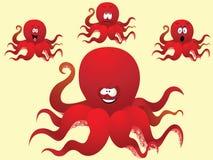 Rode vrolijke beeldverhaaloctopus, met een verschillend gezicht. Royalty-vrije Stock Foto's