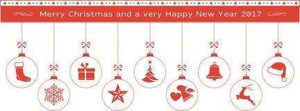 Rode Vrolijke Kerstmis en Gelukkige Nieuwjaargrens met het hangen ornam Stock Fotografie