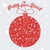 Rode vrolijke Kerstmisbal met feestelementen Stock Afbeelding