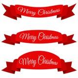 Rode Vrolijke Kerstmisbanner Reeks linten met tekst Stock Afbeelding