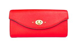 Rode vrouwelijke die portefeuille op witte backgroun wordt geïsoleerd royalty-vrije stock fotografie