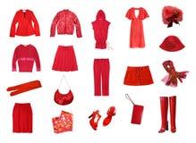 Rode vrouwelijke geplaatste kleren stock fotografie