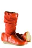 Rode vrouwelijke schoenen Royalty-vrije Stock Foto