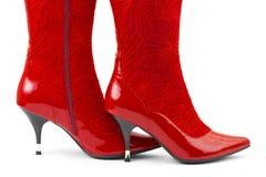 Rode vrouwenschoenen Stock Fotografie