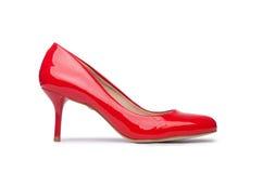 Rode vrouwenschoenen Royalty-vrije Stock Foto's