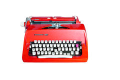 Rode vuile Retro schrijfmachine met het knippen van weg Stock Foto