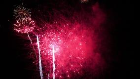Rode vuurwerkwolk stock footage