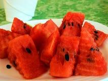 Rode watermeloenbesnoeiing stock fotografie