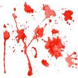 Rode waterverfvlekken op een witte achtergrond vector illustratie