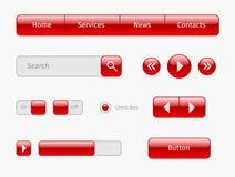 rode Web ui elementen op grijs Stock Foto's