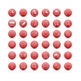 Rode Webpictogrammen Stock Fotografie