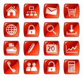 Rode Webpictogrammen/knopen Royalty-vrije Stock Afbeeldingen