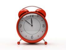 Rode wekker die op witte 3D achtergrond wordt geïsoleerdÀ Stock Afbeeldingen