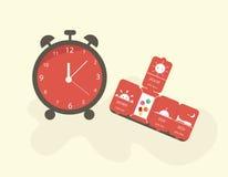 Rode wekker met een doos geneeskunde Vector illustratie Vlak Ontwerp Royalty-vrije Stock Foto