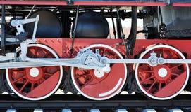 Rode wielen van oude stoomlocomotief Royalty-vrije Stock Fotografie