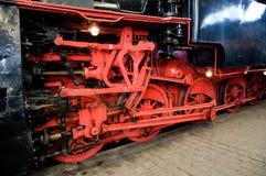 Rode wielen van stoomtrein Royalty-vrije Stock Afbeelding