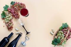 Rode wijn, druiven op een beige achtergrond royalty-vrije stock foto