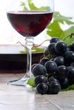 Rode wijn en druiven stock foto