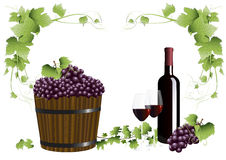 Rode wijn en druiven stock illustratie