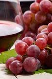 Rode wijn en druiven Stock Afbeelding