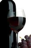 Rode wijn en druiven Stock Foto's