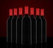 Rode wijn en een fles Royalty-vrije Stock Afbeelding
