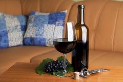 Rode wijn en fles Stock Foto