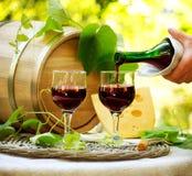 Rode Wijn en Kaas Stock Foto