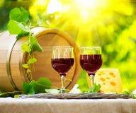 Rode wijn en kaas Romantische lunch Stock Foto's