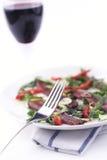 Rode wijn en rundvleescarpaccio; Ondiepe dof Stock Fotografie