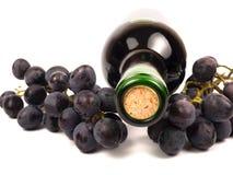 Rode wijn in fles en druiven Stock Foto