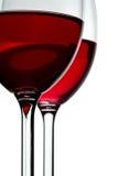 Rode wijn in glazen Stock Foto's