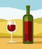 Rode wijn, groene fles, duidelijk glas, landschap, illustratie Stock Afbeeldingen