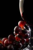Rode wijn met druiven Stock Foto