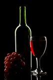 Rode wijn met druiven stock afbeeldingen