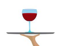 Rode wijn op dienblad vector illustratie
