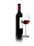 Rode wijn op witte achtergrond Stock Foto