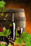 Rode wijn, wijnstok en vat Royalty-vrije Stock Foto's