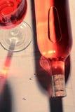 Rode Wijnfles en Bezinningen Royalty-vrije Stock Afbeeldingen
