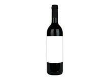 Rode Wijnfles met wit etiket Royalty-vrije Stock Afbeeldingen