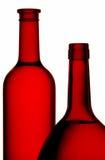 Rode wijnflessen Stock Fotografie