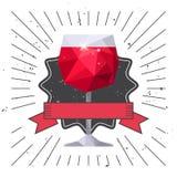 Rode wijnglas en lint stock illustratie