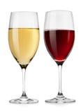 Rode wijnglas en wit wijnglas stock foto's