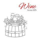 Rode wijnglas en wit wijnglas, druiven op houten vatvector royalty-vrije illustratie