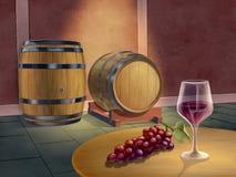 Rode wijnkelder royalty-vrije illustratie