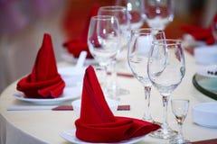 Rode wijnservetten Royalty-vrije Stock Afbeeldingen